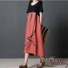 大碼復古中長款棉麻洋裝 夏裝新款洋氣女裝寬鬆氣質民族風連身裙 BT21691『bad boy時尚』