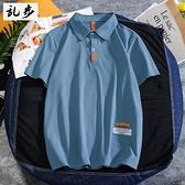 夏季新品純棉翻領POLO衫男士日系短袖T恤港風有領保羅衫上衣 果果輕時尚