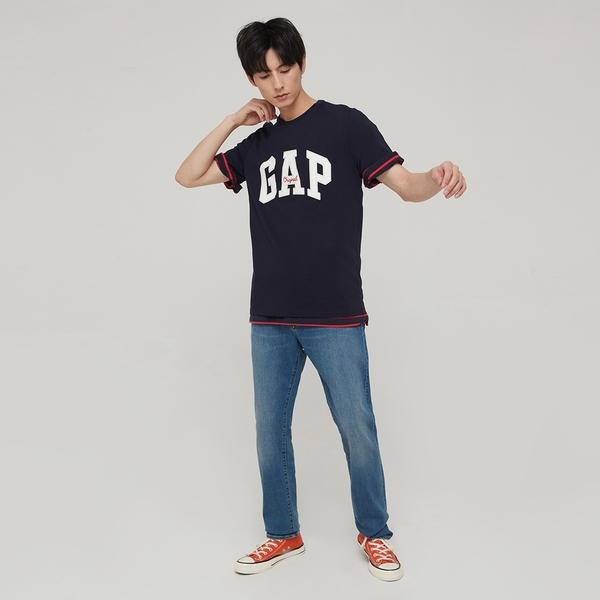 Gap男裝 Logo純棉寬鬆圓領短袖T恤 848801-海軍藍