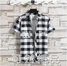 黑白格子襯衫男長袖夏季韓版薄款襯衣服外套男士潮流寬鬆休閒寸衫 可然精品