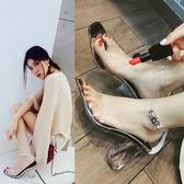 新款歐美透明魚嘴涼鞋女夏性感一字扣帶粗跟簡約水晶高跟女鞋 居享優品