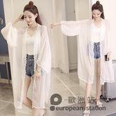 外套/夏天防曬衣女中長款寬鬆雪紡沙灘開衫超仙披肩薄蕾絲空調外搭「歐洲站」