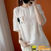 大碼女裝棉麻短袖T恤夏季新款胖mm寬鬆條紋刺繡顯瘦減齡襯衫上衣 happybee