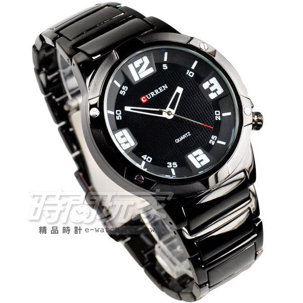 CURREN 數字時刻有型時尚腕錶 男錶 IP黑電鍍x白指針 CU81110白 時間玩家