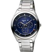 agnes b. Solar 驚豔巴黎太陽能日曆腕錶-藍/40mm V14J-0CG0B(BT5010P1)