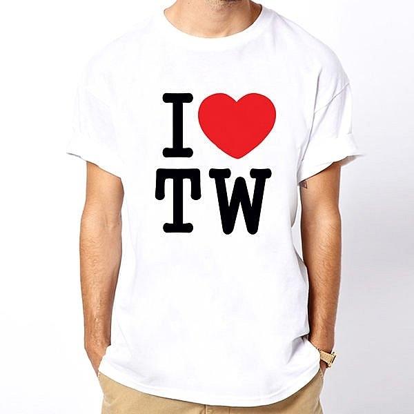 【Dirty Sweet】I Love TW Taiwan短袖T恤-白色 我愛台灣 390 gildan