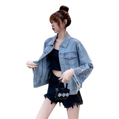 牛仔外套開衫大碼L-4XL春裝新款大碼女裝無彈繡花毛邊寬松牛仔外套F3124韓衣裳