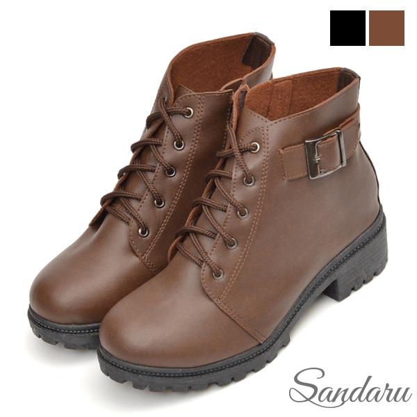 短靴 MIT皮帶釦拉鍊粗跟靴-咖啡