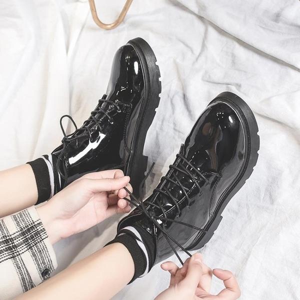 馬丁靴 女新款百搭高筒小皮鞋女學生短靴秋季女鞋英倫風靴子女 - 歐美韓熱銷