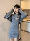 洋裝 女春季短款抽繩褶皺裙收腰百搭氣質短裙毛衣兩件套【618特惠】