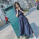 現貨 飄逸率性長版雙口袋縮腰顯瘦長洋裝連身裙開襟襯衫外套罩衫外搭S-XL