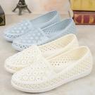 雨鞋涼鞋護士鞋夏季女白色塑膠涼鞋軟底媽媽鞋女平底水鉆沙灘鞋雨鞋女