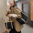 大容量單肩帆布包女2020新款通勤簡約托特包復古百搭大學生上課包 極簡雜貨