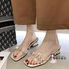 高跟拖鞋 仙女風外穿性感高跟拖鞋女2020夏季新款時尚透明鞋粗跟氣質一字拖 2色