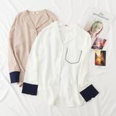 百搭新款復古拼色V領雪紡長袖內搭打底衫女白襯衫寬鬆秋季上衣 居享優品