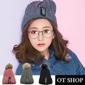 OT SHOP帽子‧毛球LOVE反摺雙層刷毛‧毛線帽毛帽針織帽‧日系情侶街頭保暖單品‧現貨2色‧C1725