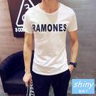 【Y041】shiny藍格子-簡約年代.夏裝潮流英文字母圓領短袖T恤