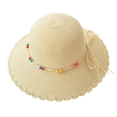 草帽-可摺疊花邊草編串珠女遮陽帽5色73vf47【時尚巴黎】