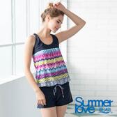 【Summer Love 夏之戀】加大碼連身褲二件式泳裝(S19708)