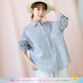 襯衫    衣袖細條拼寬條棉麻襯衫    二色原單-小C館日系