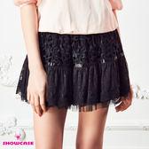 【SHOWCASE】蕾絲拼接襬短褲裙(黑)