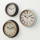 時鐘美式鄉村創意仿古客廳餐廳臥室牆上鐘錶掛鐘歐式復古靜音掛錶