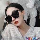 太陽眼鏡 網紅潮款連體無邊框超黑色偏光墨鏡女大框圓臉街拍太陽鏡方框眼鏡 618狂歡