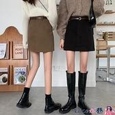 熱賣短裙 春秋2021年新款春裙高腰毛呢A字裙黑色半身裙春季女短裙包臀裙子【618 狂歡】