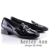 ★2018春夏★Keeley Ann學院物語~簡約飾釦光澤質感真皮低跟鞋(黑色) -Ann系列