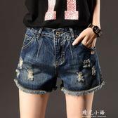 2018夏季新款韓國破洞牛仔短褲女大碼百搭寬鬆寬管褲毛邊熱褲 晴光小語