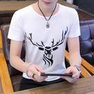 短袖T恤 春夏季男士短袖t恤打底衫上衣服修身半袖圓領印花體恤正韓潮男裝