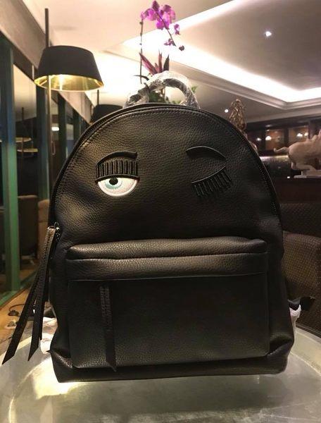 ■現貨在台 ■專櫃價7折 Chiara Ferragni 2018 新版全新真品眨眼 Wink CFZ01黑色皮革後背包