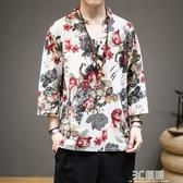 夏季短袖t恤印花男上衣服七分袖潮流中國風男裝半袖大碼體恤漢服 3C優購