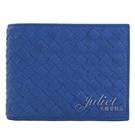 茱麗葉精品【全新現貨】BOTTEGA VENETA 148324 手工編織皮革零錢短夾.藍