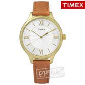 TIMEX 天美時/ TXTW2R27900 / 美國指標女伶甜蜜綻放真皮手錶 銀x金框x卡其 36mm