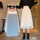 女裝2020秋新款韓版時尚高腰顯瘦網紗半身裙洋氣白色百褶A字裙子 3C優購