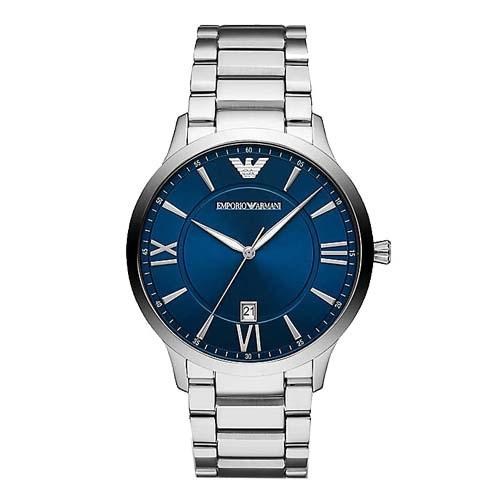 【時間道】EMPORIO ARMANI亞曼尼 都會紳士羅馬刻度腕錶/藍面鋼帶(AR11227)免運費