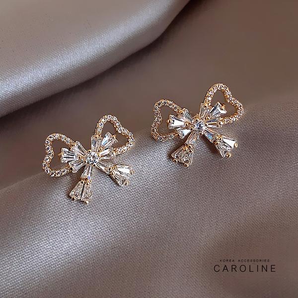 《Caroline》S925銀針新款蝴蝶結Bling Bling 絢麗閃亮動人時尚耳環72281