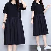 洋裝連身裙中大尺碼M-4XL遮肚子寬鬆大碼純棉裙子4F101-8895.胖胖唯依