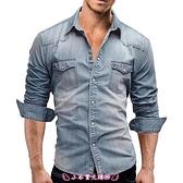 牛仔襯衫 秋裝歐美男士雙口袋青休閒長袖牛仔襯衫Men's shirt - 小衣里大購物