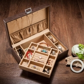 皮革雙層首飾盒皮質手錶珠寶手鐲收納收藏盒節日禮品『艾麗花園』