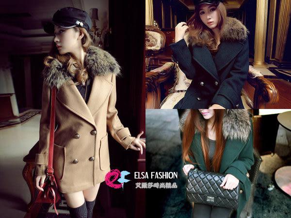 *艾爾莎*【THE00001】時髦名媛大毛草領圍雙排釦大衣外套