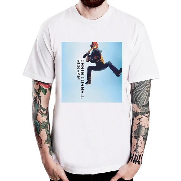 Chris Cornell-scream短袖T恤-白色 相片人物音樂搖滾吉他迷幻設計插畫樂團