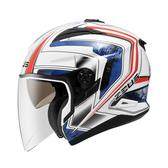 【ZEUS 瑞獅 ZS 613B AJ6 白藍 3/4罩 安全帽 】內襯全可拆洗、免運費