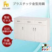 ASSARI-水洗塑鋼緩衝三門3抽碗碟櫃(寬123深42高81cm)胡桃