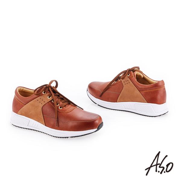 A.S.O 輕量抗震 牛皮拼接奈米戶外健走鞋