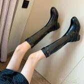 騎士長靴女皮靴新款胖妹妹秋冬季新款外穿百搭網紅超火瘦瘦靴扣子小铺 扣子小鋪