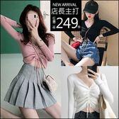 克妹Ke-Mei【AT47348】chic韓妞最愛性感抽繩綁帶修身針織上衣