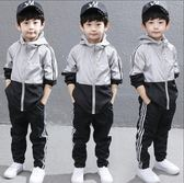 男童秋裝 兩件套套裝 沖鋒衣 風衣 2018新款韓版童裝 運動服 中大兒童男孩連帽外套 帥氣兩件套潮