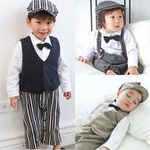 Augelute Baby 吊帶假兩件背心紳士連身衣含帽子 3件套 60309